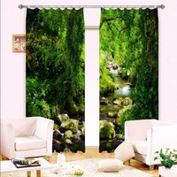 Green Forest 3D Curtain Window Blackout Curtains For Bedroom Living Room Drapes Rideaux Pour Le Salon