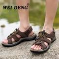 2016 Del Verano Hombres Sandalias de Cuero Genuino Sandalias de piel de Vaca Al Aire Libre Zapatos Casuales Zapatos de Hombre Zapatos de Playa Para Caminar