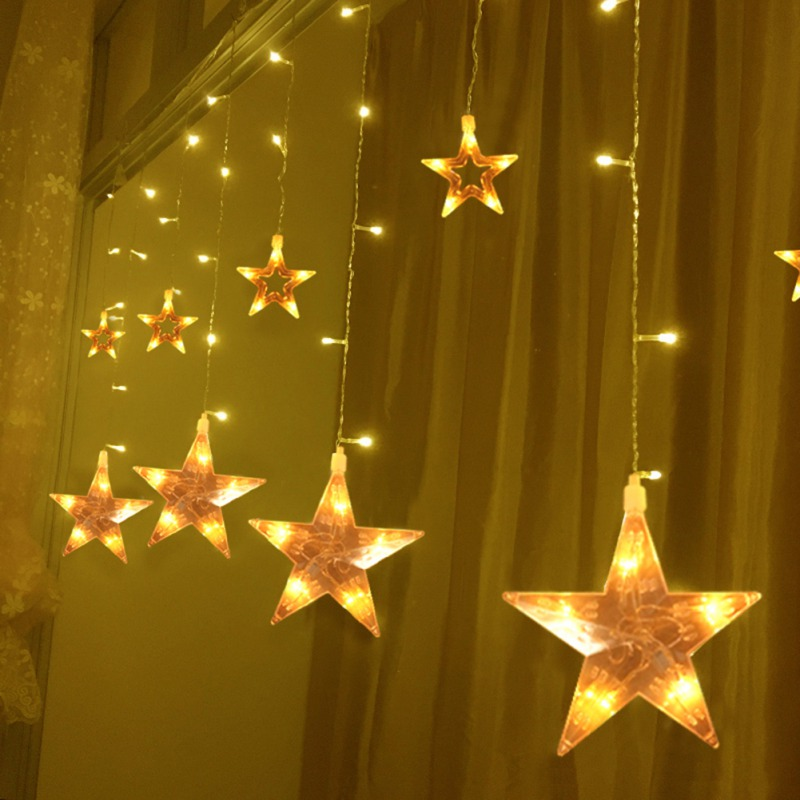 Christmas Lights AC 220-240V Romantic Fairy Star LED Stars Curtain String Lighting For Holiday Wedding Garland Party Decoration