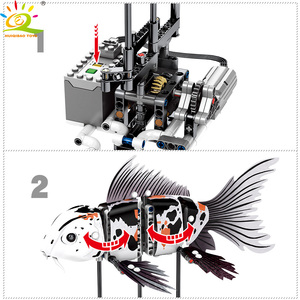 Image 3 - HUIQIBAO 342Pcs Simulated Animal Fish DIY Model Building Blocks Sets Technic Ideas City Bricks Educational Toys for Children Boy