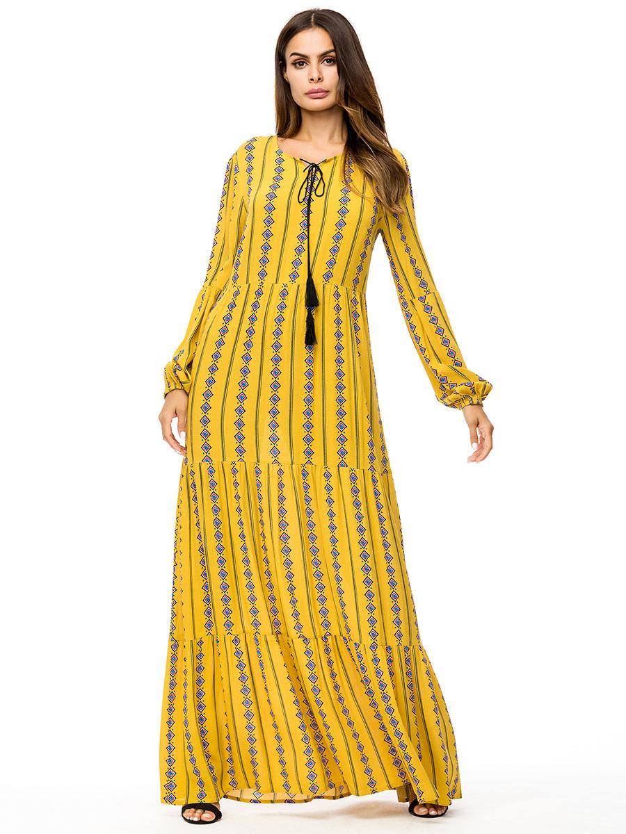3fa28a461 Casual Boho tallas grandes mujeres Maxi Dress Long Sleeve amarillo Bohemia  piso longitud Muslim 3xl 4xl vestidos largos elegante Party 2018