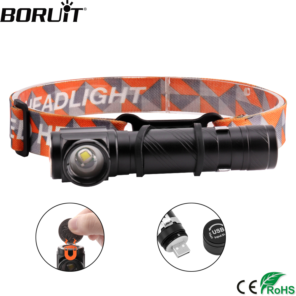 BORUiT T6 LED 3000LM Headlamp 4-Mode Rechargeable Headlight Built-in Battery Flashlight With Magnet Camping Hunting Head Torch