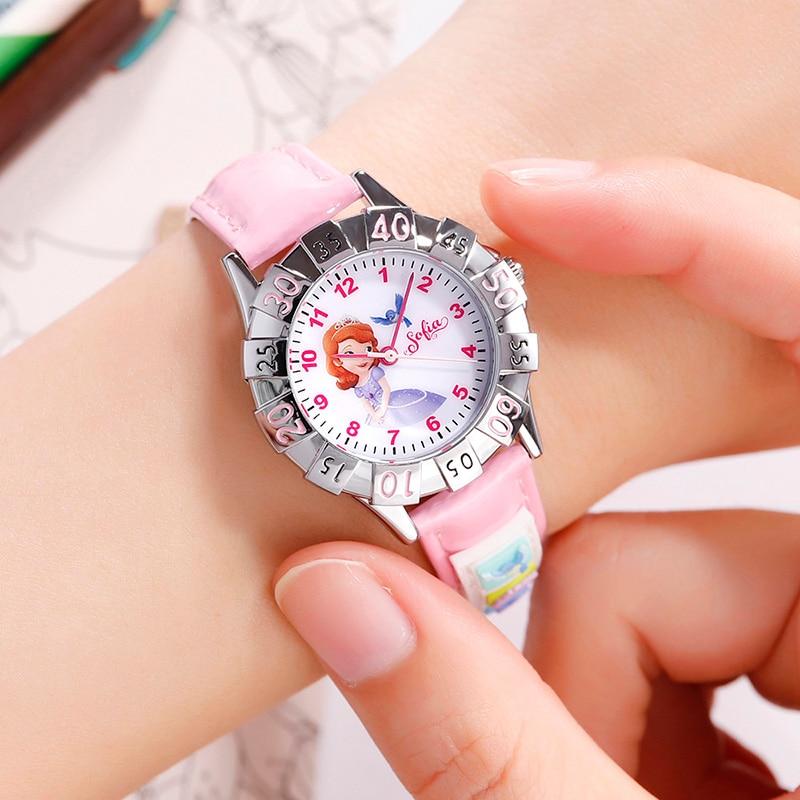 06e031d7cc72 Reloj de pulsera de niños congelados de Disney Sofia Elsa niños relojes  niñas regalos de Navidad ...