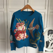 Autumn Winter Sweaters New Fashion 2016 Women's Long Sleeve Elegant birds beading Flower Embroidery novel Wool Sweater