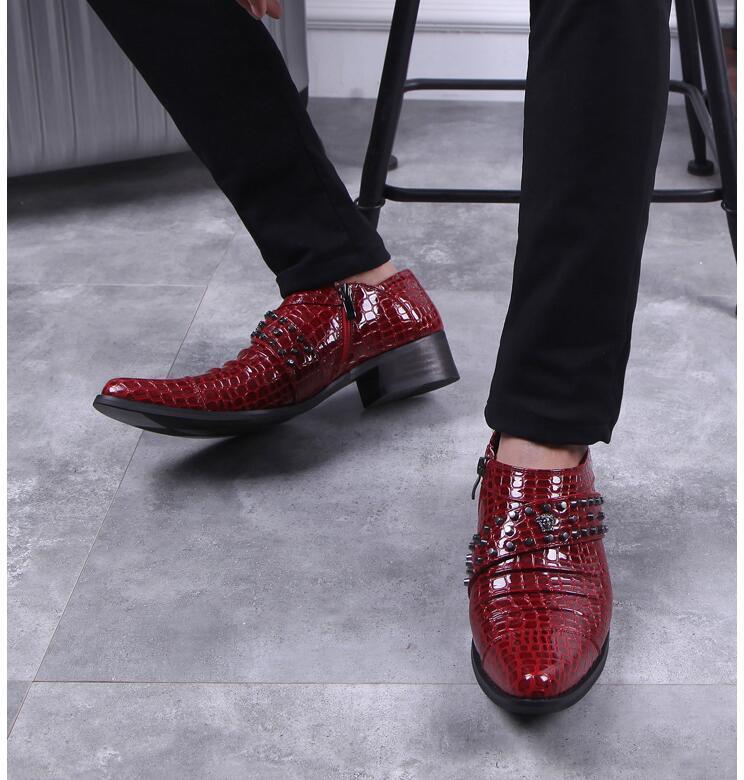 Rojos Zapatos Hombres Smart Boda Black Talón Med red Charol De Apuntando Remaches Dedos Oxfords Deslizamiento La Casual Altura En Creciente xw65F6ECq