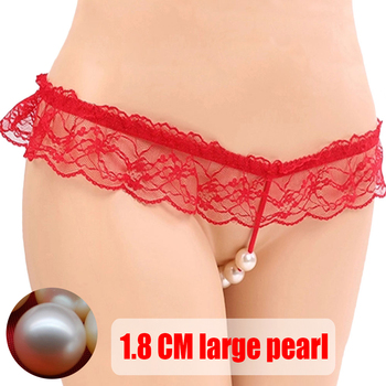 Baizhenzhu 2018 new style massage of the women string Pearl sexy lace panties  low waist  g string sexy thong panties women's