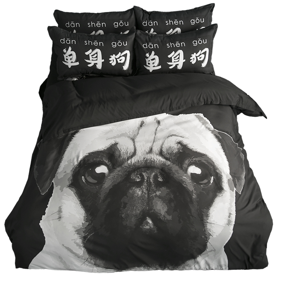 Black Duvet Cover Set 3d Dog Printed Bedding Set For Adult Single Dog Pattern Duvet Cover Digital Printing Bed Sheet Pillow Case