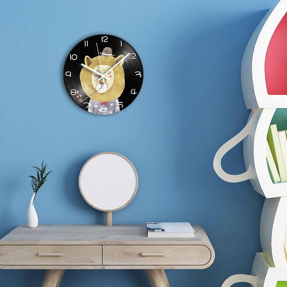 Cartoon Lion Lp Vinyl Record Clock Shabby Chic Decorative Digital Wall Clock For Kids Room With Mute Mechanism Home Decor Wall Clocks Aliexpress