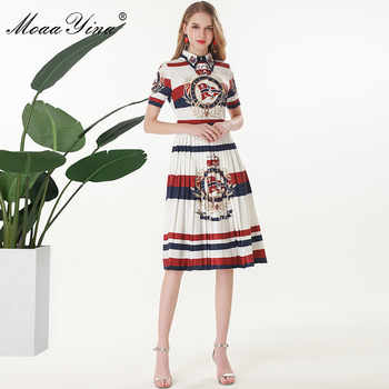 MoaaYina Fashion Designer Runway dress Spring Summer Women Dress Short sleeve Beading Stripe Print Slim Elegant Pleated Dresses - DISCOUNT ITEM  15% OFF All Category