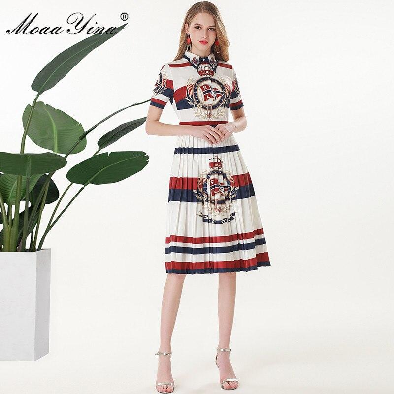 MoaaYina diseñador de moda de la pista vestido Primavera Verano vestido de las mujeres de manga corta cordón estampado de rayas Slim elegante plisado vestidos-in Vestidos from Ropa de mujer    1