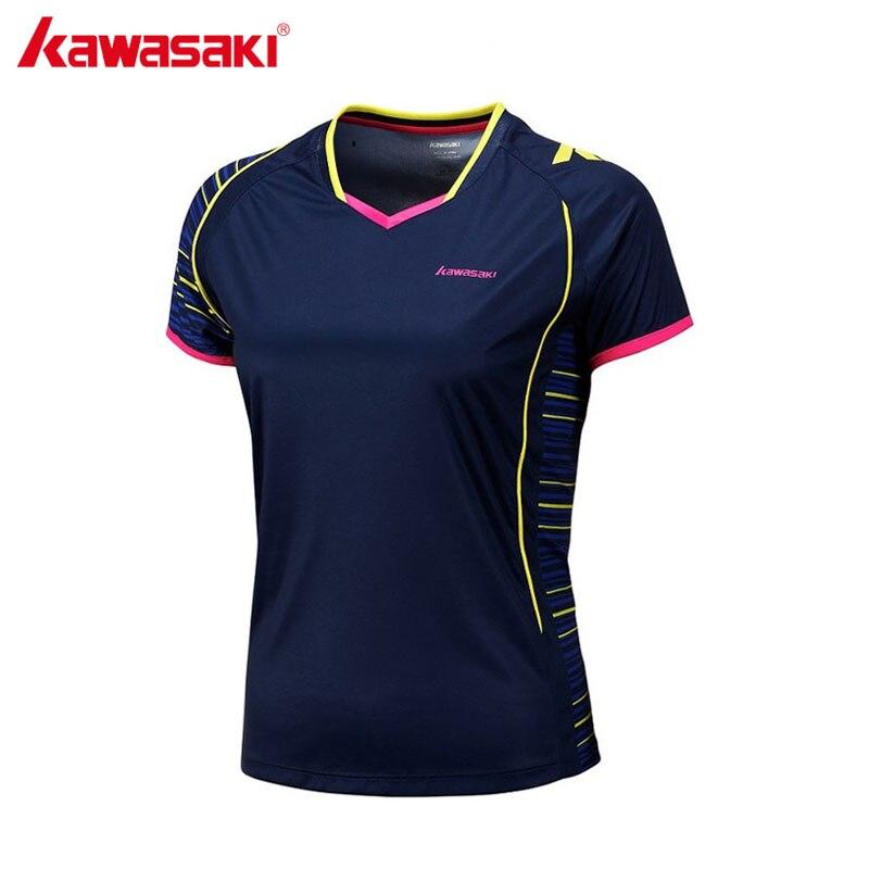 KAWASAKI 2017 Breathable Badminton Shirt Short Sleeved V Collar Shirt Woman Sportswear For Fitness Gym ST-172014