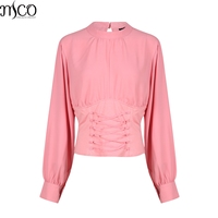MCO 2017 Sexy Lace Up Croset Waist Plus Size Women Crop Top Fashion Zipper Cropped Tops Oversized OL Big Blouse 5xl 6xl 7xl