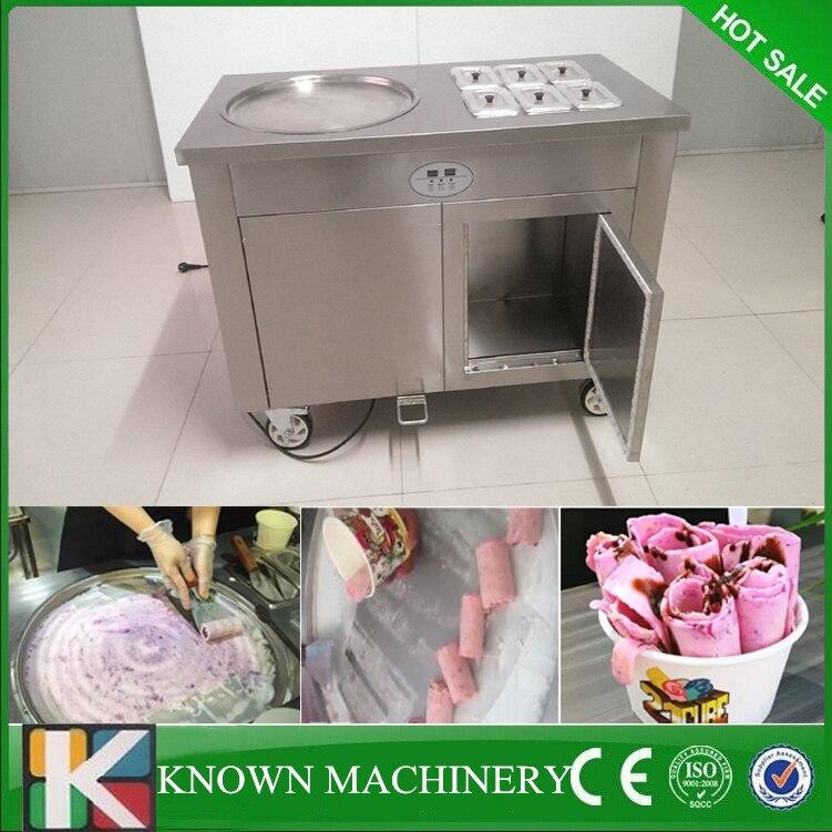 R410A pédale de réfrigérant dégivrage thaïlande style friture crème glacée rouleau machine simple casserole avec 6 réservoirs de refroidissement