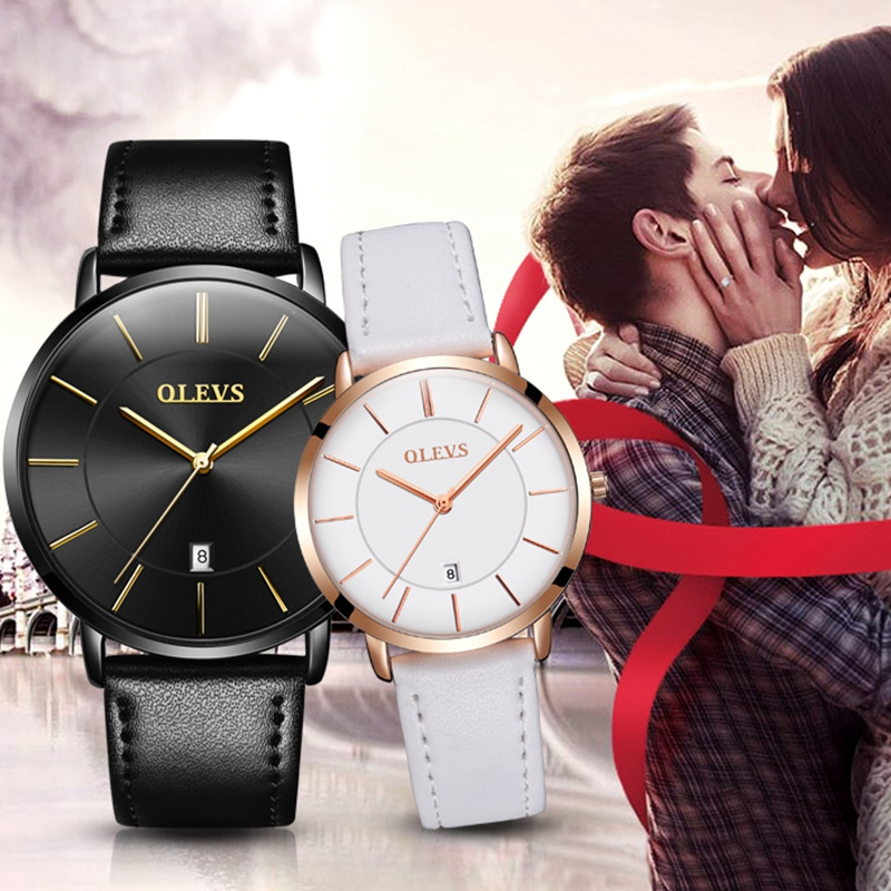 2017 Luxury Brand Lover s Watches Pair Waterproof Couples Black and White Watches Genuine leather Wristwatches