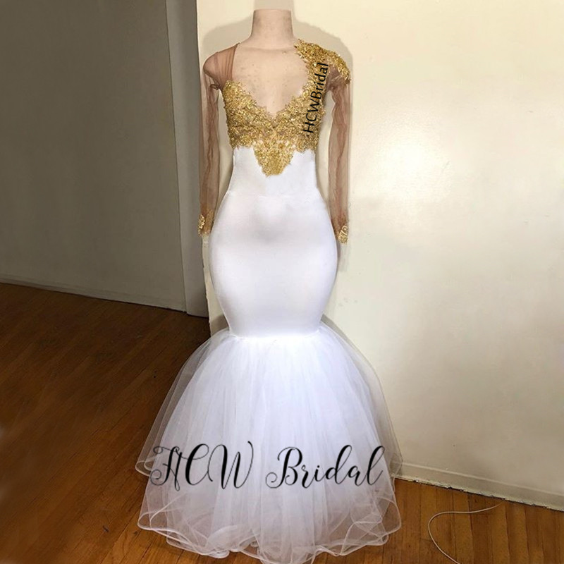 New Arabic   Evening     Dresses   2019 White Mermaid Long Sleeve Gold Lace Elastic Satin Formal   Dress   Custom Made Women Party Gowns