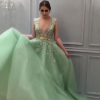 Saudi Arabic Mint Green Long Evening Dresses A Line Deep V Neck Luxury Lace Beaded Pearls