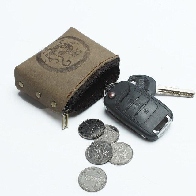 f42a4d5bbb Handmade dell'annata delle donne del Cuoio Genuino piccolo Portamonete  portachiavi Auto chiave per gli