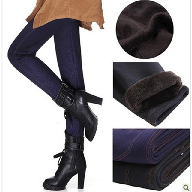 2016 Polainas de Invierno Mujeres Engrosamiento Pantalones Calientes de La Moda Vellones Interior Pantalones Leggings Leggings de Mezclilla Con Bolsillos