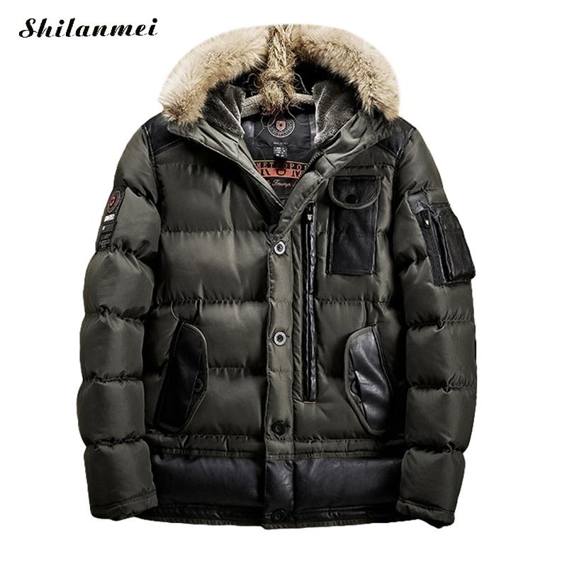 2017 Men's Thick Winter Parka Hooded Coat Down Parkas Jackets Male Fur Collar Parkas Warm Jacket Men Military Down Overcoat Army