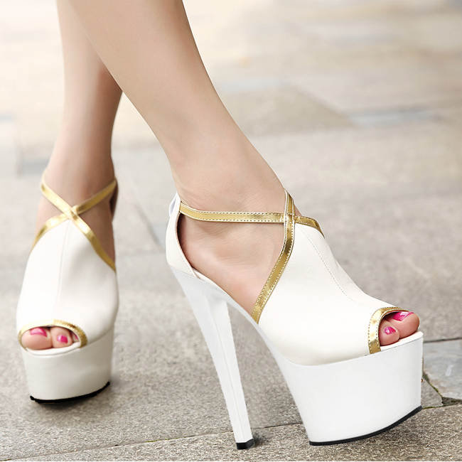The summer new style is recommended, the euramerican trend fish-mouth super high heels, 17cm waterproof platform Dance Shoes