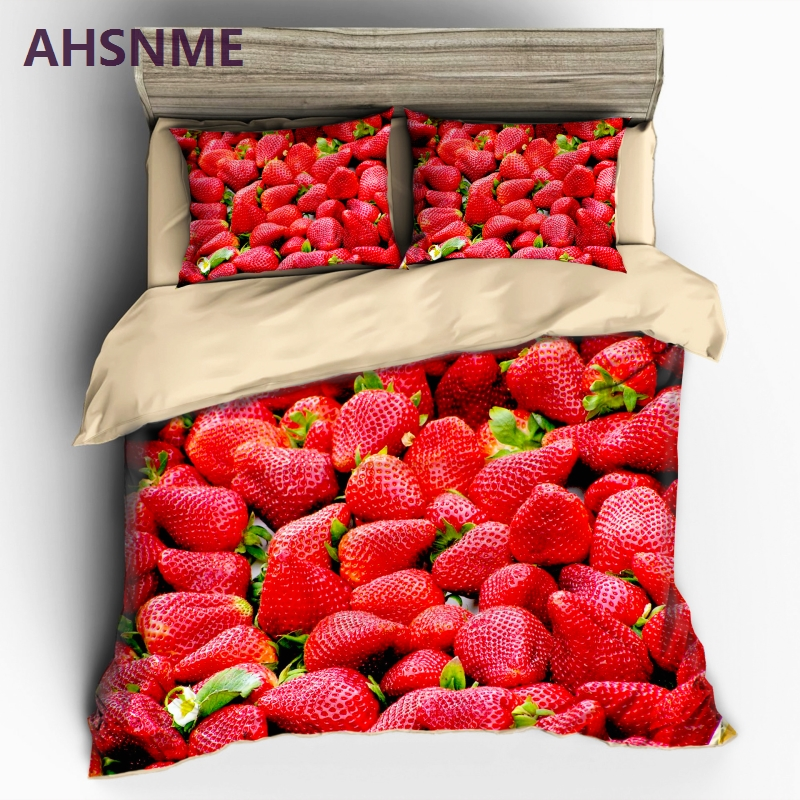 AHSNME lot of Large Red Strawberry Bedding set Fruit Photo Quilt Cover High definition Print Home