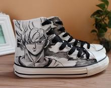 Bola de Dragón pintado a mano zapatos de lona zapatos genial Saiyan Goku Graffiti porque botas para fiesta de Halloween estudiante vulcanizar zapatos A51410