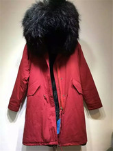 Christmas festival women / men winter Red Long jacket raccoon fur collar Mr Mrs black fur inside parka