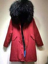 Christmas festival women / men winter Red Long jacket raccoon fur collar Mr Mrs black fur inside parka