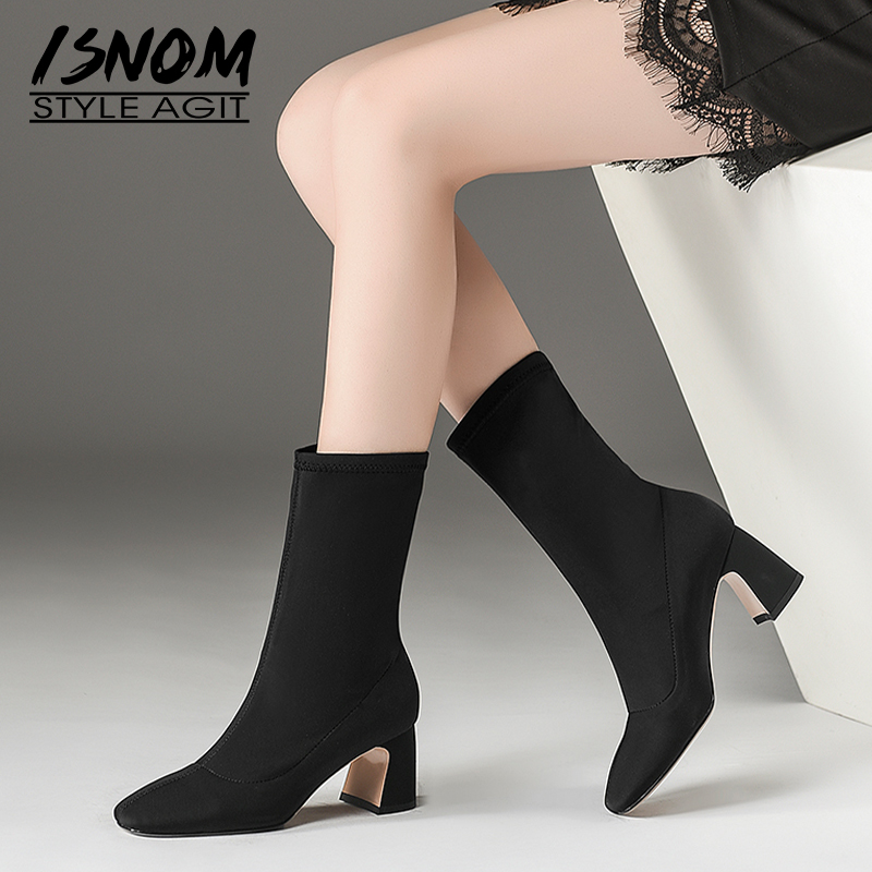 ISNOM Stretch Lycra Women Boots Square Toe Footwear Thick High Heels Female Boot Fashion Winter Shoes Woman Black Plus Size 43