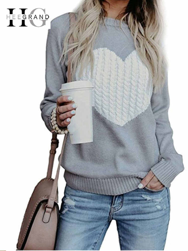 HEE GRAND Autumn Women Sweater Heart Printed Sweaters Female Long Sleeve Casual Apricot Pullover Winter Warm Knitted Top WZL1472