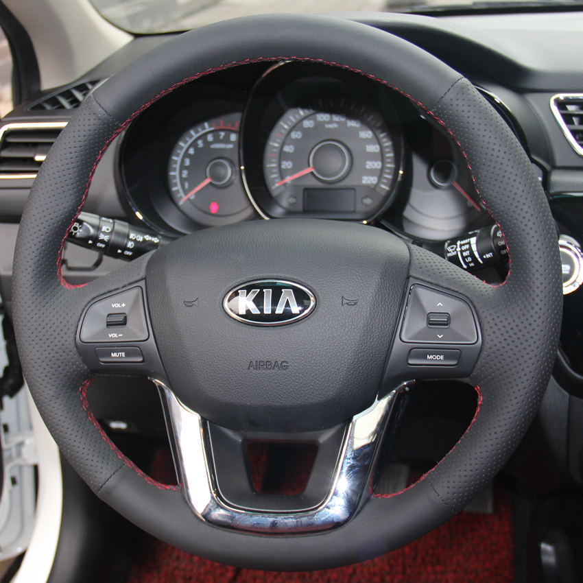 Black Leather Hand stitched Car Steering Wheel Cover for Kia K2 Kia Rio 2011 2012 2013