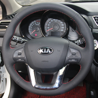 Black Leather Hand Stitched Car Steering Wheel Cover For Kia K2 Kia Rio 2011 2012 2013