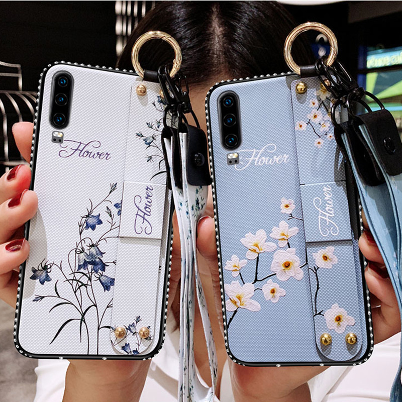 Wrist Strap <font><b>Case</b></font> For <font><b>Huawei</b></font> <font><b>Y5</b></font> Y6 Y7 Y9 Prime <font><b>2018</b></font> 2019 P Smart Plus 2019 Vintage Flower Pattern Holder Cover With Lanyard Caqa image