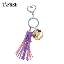 TAFREE Purple Tassel Heart Clasps Key Ring Holder Glass IKON Member Photo Cabochon Dome Pendant Keychain For Fan Gift IK03(China)
