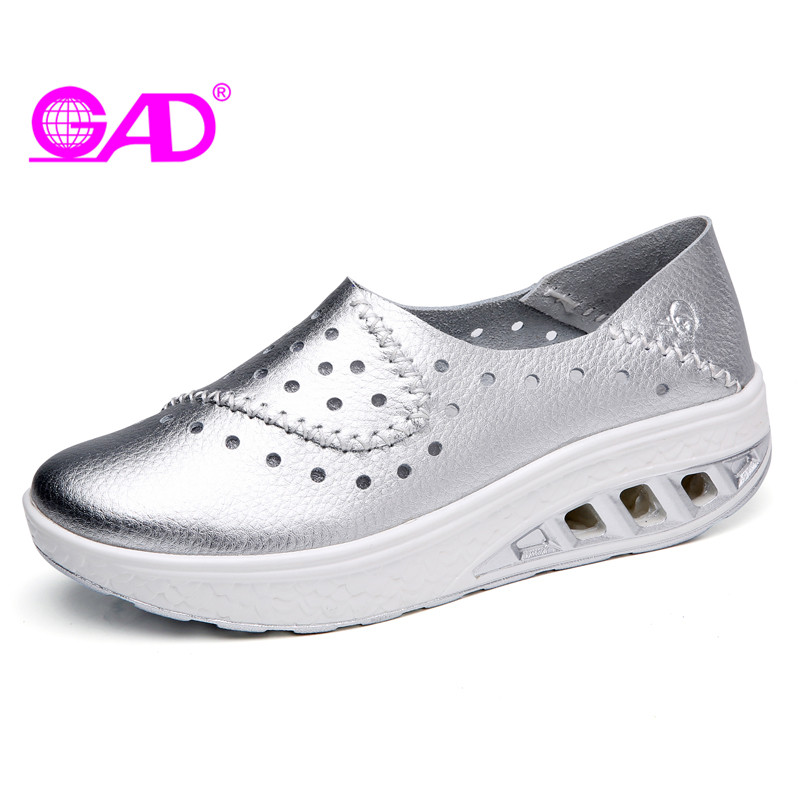 GAD 2018 Spring/Summer Women Flat Shoes Sneakers Women Platform Shoes Round Toe Slip-on Leather Casual Shoes Large Size 36-42 female s lace up bow knot women glitter rivets rome sandal on platform plus size 42 43 round toe girls summer shoes flip flops