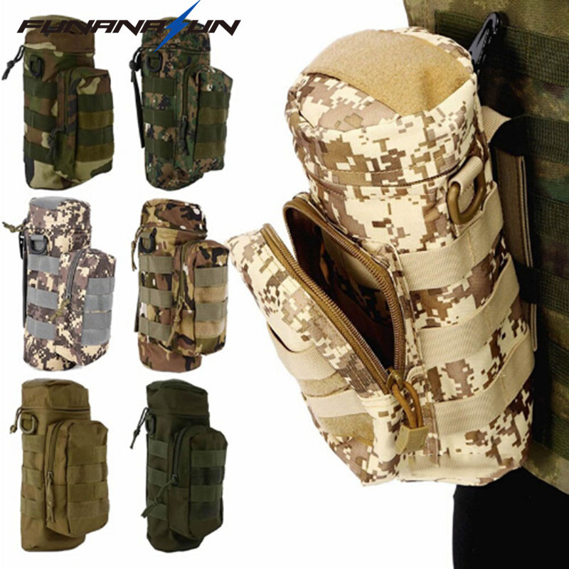 Pocket Water Bottle Molle Pouch Military Compact Carry Bottle Pack Tactical Kettle Pouch with Hook Holder for Camping Hiking цена 2017