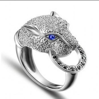 YaYI moda kobiety biżuteria pierścionek Leopard głowy CZ kolor srebrny pierścionki zaręczynowe obrączki ślubne pierścienie Party pierścionki prezent tanie i dobre opinie 12MM yayi jewelry Platinum plated Geometryczne Zespoły weselne Romantyczny Prong ustawianie Cyrkonia Zaręczyny HR325 Brak