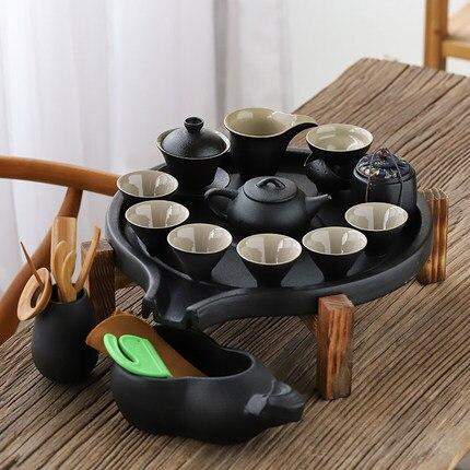 Black Ceramic Stone Mill Tea Tray Household Round Ceramic Dry Bubble Storage Water Tea Table Office Kung Fu Tea Set