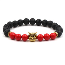 Fashion Woman Bracelets 2019 Natural Stone Red And Black Lava Volcanic Bracelet Gold Alloy Owl Mens Jewelry Gifts