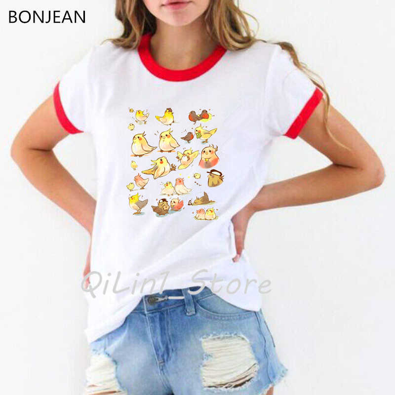 מצחיק ציפור בעלי החיים מודפס חולצה נשים קיץ חולצות kawaii טי חולצה femme קוקטייל famil חולצה נקבה קוריאני סגנון בגדים