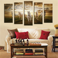 Big Size 5 Piece Wall Paintings Home Decorative Modern Horse Art Combination Paintings For Home Creative