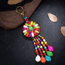 Ретро ручной работы красочные смолы цветок кулон кисточки брелки