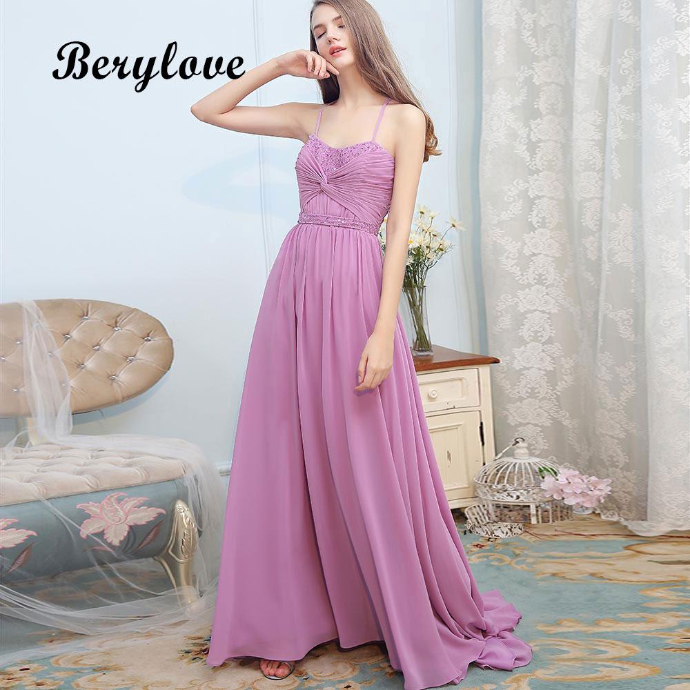 BeryLove Long Lavender Evening Dresses Spaghetti Straps Prom Dresses ...