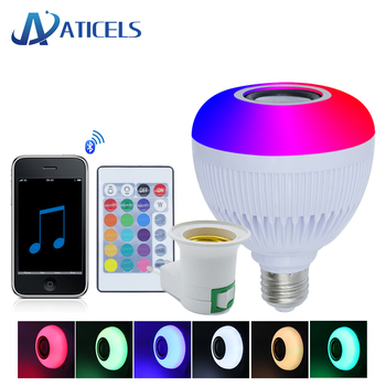 цена на Smart Bluetooth Speaker E27 LED Bulb RGB+White 12W Music Playing Led Lamp with 24 Keys Remote Control for Party Night Light