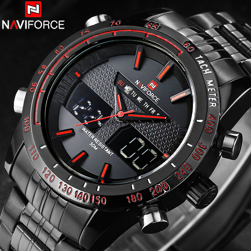 NAVIFORCE Brand Mens 30M Waterproof Sport Watch Men Stainless Steel Analog Digital LED Watches Dual Time Clock Relogio Masculino все цены