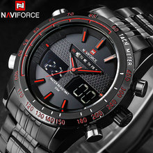 NAVIFORCEยี่ห้อMens Sportนาฬิกาผู้ชายสแตนเลสAnalog Digital LEDนาฬิกาJam TangaนาฬิกาRelogio Masculino