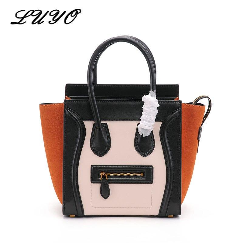 2018 Fashion Smiley Face Trapeze Genuine Leather Luxury Handbags Women Famous Brands Bags Designer font b