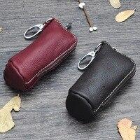 Genuine Leather Cylinder Car Key Bag Unisex Classic Key Case Versatile Fashion Women Men Key Wallet Casual Householder Key Bags