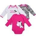 3 unids/lote 1 Año de Cumpleaños Baby Girl Clothes O-cuello Vestido Infantil Del Cabrito, Algodón de Manga Larga Cuerpo Recién Nacido Bebe Menina Ropa de bebé