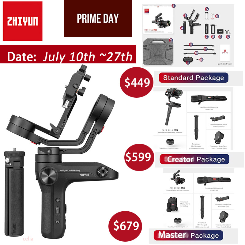 Zhiyun Weebill LAB 3-Axis Handheld Gimbal Stabilizer For Mirrorless Camera Sony A7R3 A7S2 A7M3 A6300 A6500 Lumix GH5 PK Crane 3